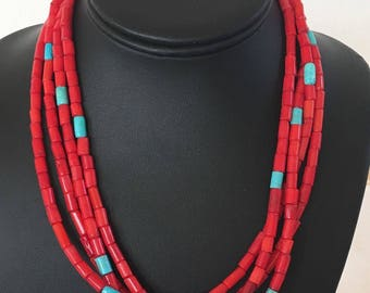 Native American 4 Turquoise Red Bamboo Coral sterling Silver Necklace