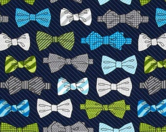 Fox and The Houndstooth Bowties Navy Robert Kaufman Andie Hanna