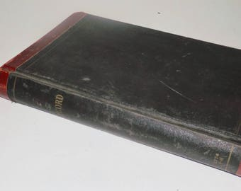 """Large leather bound old ledger record book,1920s,National Brand,antique ledger book,14""""x9"""",blank pages,ABC tabs,business ledger,black book"""