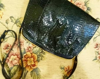 Bolso vintage snake skin leather serpiente/ bag antique black snake reptile leather/rare luxury vintage leather bag purse handbag navy style