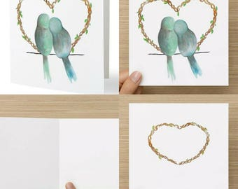 Stationery, Illustration, Greeting Card Birds Lovers, Love, Valentine day, Heart, Celebration, Party, Birthday card, Wish cards, Item # C011