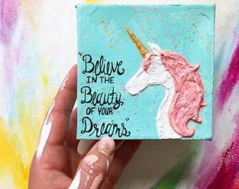 Unicorn Dream Original Mini, Mini Painting, Mini Art, Small Painting, Small Art, Original Painting, Unicorn Decor, Room Decor, Unicorn Art,