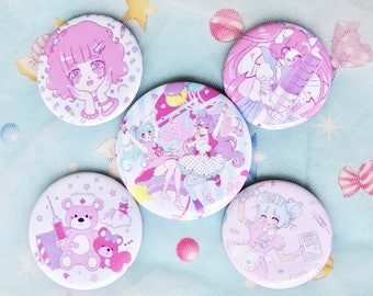 Fairy Kei + Menhera Badge Buttons - Choose 1 or Entire Set