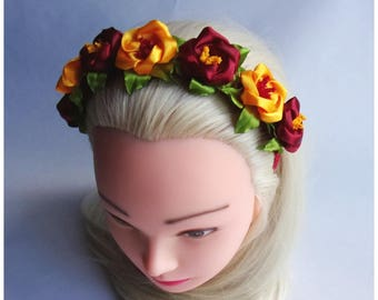 Headband with yellow ane red kanzashi flowers/Kanzashi Tiara/ Flower girl headband