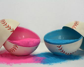 2 Gender Reveal Baseballs (with glitter) (Color combination of choice)