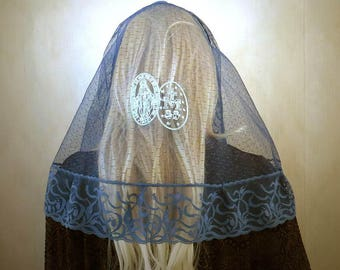 Embroidered Miraculous Medal Blue on Navy Blue Chapel Veil | Mantilla | Free Carry Pouch |  Embroidered Veil | Lace Veil | The Veiled Woman