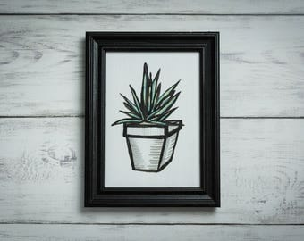 Potted Aloe in a Reclaimed, Black, Wood Frame (Original)