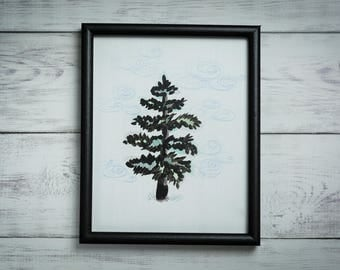 Evergreen in a Reclaimed, Black, Wood Frame (Original)