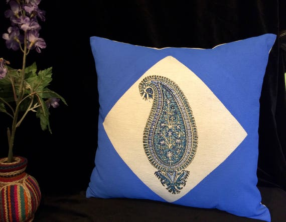 handprinted 17 inches Cotton and linen pillow case , blue paisley decorative cushion , sofa pillow