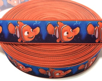 "1"" Finding Nemo Ribbon, Finding Nemo Grosgrain Ribbon, Fish Ribbon, Clownfish Ribbon, Orange Fish Ribbon"