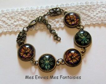 """14 mm bronze Cabochon Bracelet KIT""""shapes geometric""""KIT684"""