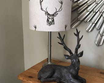 Handmade Custom Lampshade Country Vintage Style Charcoal Stag Deer Stags Head Print Linen - 20/30/40cm drum lamp shade