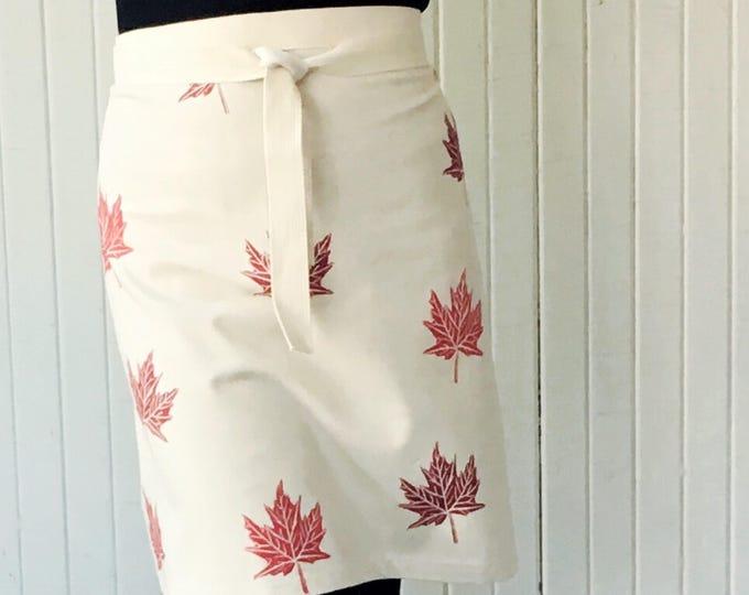 ORGANIC canvas apron, hand printed with red maple leaves, red on natural, flattering apron, hostess gift, bridesmaid gift, custom sets too!