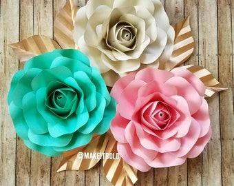Paper Flower Backdrop, Paper Roses, Paper Flower Set, Unicorn Party Decor, Big Paper Flowers, Nursery Paper Flowers, Tea Party Backdrop Flor