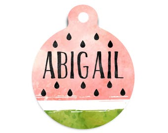 Watermelon Pet Tag, Summer Pet Id Tag, Best of Summer Pet Tag, Trendy Watermelon Dog Tag, Watercolor Name Tag, Watermelon Collar Tag for Pet