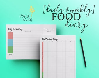 Food Diary - Daily & Weekly - Printable A4 (or A5) Food and symptom tracker - Health Journal - Bullet Journal - Filofax pages