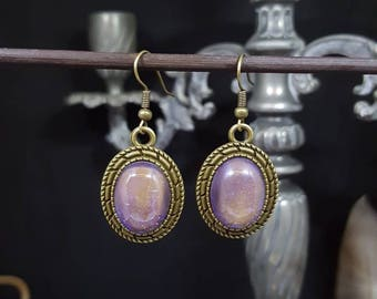 Purple Cab - cabochon - bronze - Opal - pink - glass - romantic - girly - Bohemian - retro - iridescent - iridescent earrings