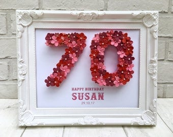 Personalised 70th birthday gift, Unique 70th birthday gift, 70th birthday sign, Happy 70th birthday, 70th gift for women, 70th birthday idea