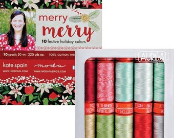 Sale Merry Merry Aurifil Thread Collection - 10 Spools, 50 wt, 220 Yards each spool, Christmas Thread Collection, Kate Spain Aurifil