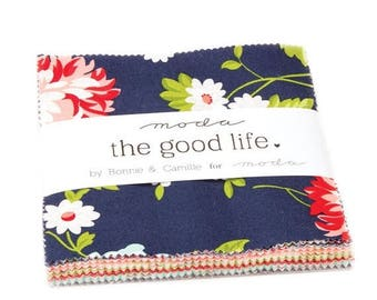 """Sale The Good Life Charm Pack by Bonnie and Camille from Moda Fabrics, 42 - 5""""x5"""" Squares, Navy, Red Floral"""