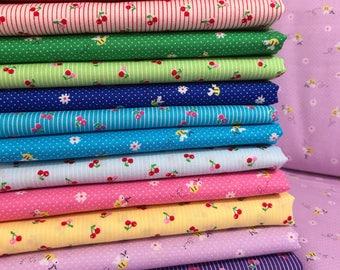 Bundle of 12 Lecien Cotton Fabrics from the Minny Muu Fall 2016 Collection by Lecien Fabrics, Tiny Cherries, Tiny Flowers, Tiny Bees