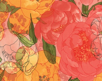 Petal Pink Floral from the Blushing Peonies collection by Robin Pickens for Moda Fabrics, Choose the Cut, 48610 14, Large Floral, Peony