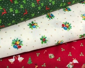 Bundle of 3 Fabrics from the Under the Christmas Tree 2017 Collection by Lecien, Choose the Cut, Christmas Fabric, Holiday