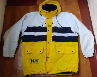 Helly Hansen jacket, vintage yellow sailing jacket of 90s hip-hop clothing, 1990s hip hop sailor college jacket, OG, gangsta rap, size XL