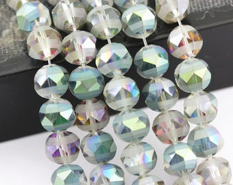 """Matte Safari Teal Color Crystal Glass Faceted Pointed Round Loose Beads For Jewelry Making 15.5"""" Long Size 8/10/12mm . GLA-001V-10"""