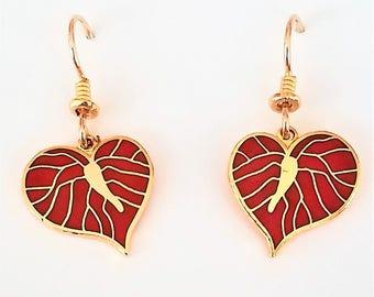 Laurel Burch Small Red Anthurium Flower Heart Dangle Earrings
