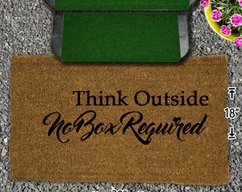 Think Outside - No Box Required Coir Doormat - 18x30 - Welcome Mat - House Warming - Mud Room - Gift - Camping - Campsite
