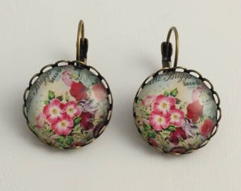 Drop earrings-Floral style-Boho Style – Bohemian jewelry-Glass Cabochon