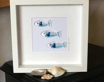 Glass Fishy Wall Hanging, Fish Inspired Glass Art, Seaside Home decor, Wall Art, Gift for her, Gift for them, Wedding gift