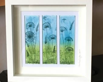Floral Glass Picture, Glass Wall Hanging, Seed Heads, Home decor, Wall Art, Gift for her, Wedding gift , New Home Gift