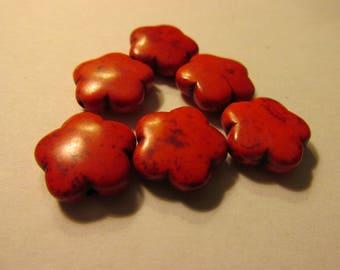Scarlet Red Howlite Flower Beads, 15mm, Set of 6