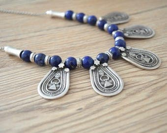 Antique silver necklace with teardrop charms, Greek inspired coin beaded necklace, Lapis Lazuli Beaded necklace, Boho bohemian jewelry,