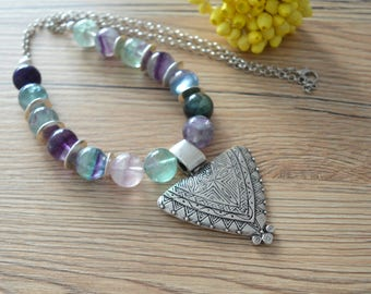 Fluorite Beaded Silver Necklace Jewelry, African Moroccan necklace, Ethnic Tribal Berber necklace, Bohemian Ethnic Tribal Coral Choker