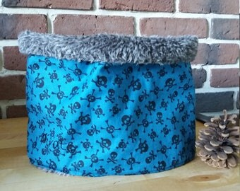 Blue fabric Snood skull and faux fur for boy
