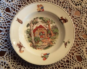 Vintage 1950 children tableware bowl Hansel and Gretel tale transferware design Very good condition