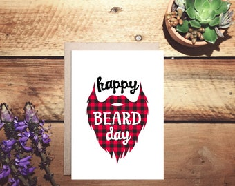 happy beard day birthday, manly beard lumberjack print birthday card, greeting card