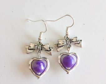 Bows, hearts and purple beads earrings