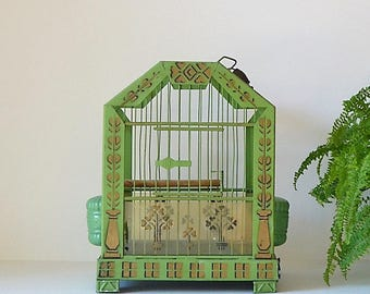Free SHIPPING 1920's DECO  vintage green birdcage green gold hanging birdcage bird cage bird All original