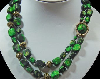Classic Vintage, 2 Strand Beaded Necklace (2918)