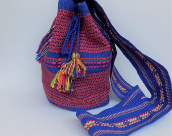 Handwoven Crossbody Bag, Handmade Wayuu Style Bag, Santo Tomas Jalieza Bag Mexican Bag, Oaxaca Bag, Cotton Bag,  Santo Tomas Jalieza, Wayuu