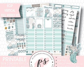 Silver Christmas Full Weekly Kit Printable Planner Stickers | JPG/PDF/Silhouette Compatible Cut Files | For Use with ECLP Vertical