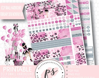 Je T'aime Valentines Day February 2018 Monthly View Kit Printable Planner Stickers (for ECLP Small Hardbound) | JPG/PDF/Silhouette File