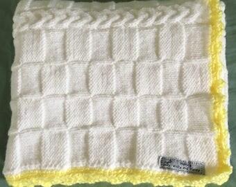 Hand Knit White Yellow Baby Blanket/Stroller blanket/Crib blanket/Christening/Baby Shower Gift