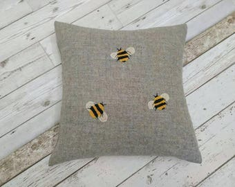 Hand Crafted Harris Tweed bee cushion cover