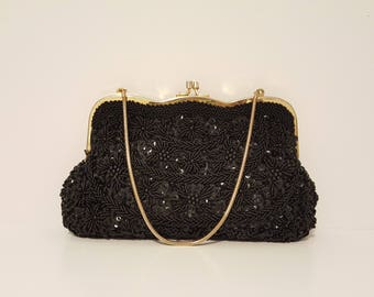Vintage Black Mademoiselle Hand Beaded and Sequin Evening Bag / Clutch