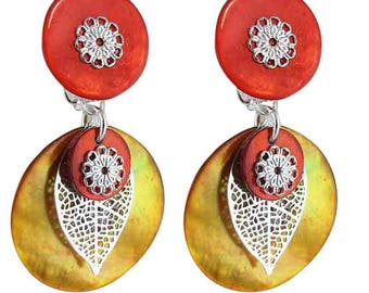 One clip earring orange (made in France)